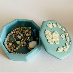 Vintage blue soapstone trinket box R.Nemith